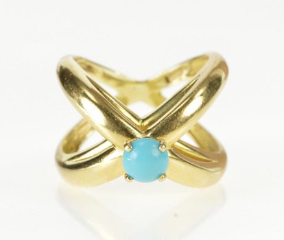 14K Turquoise Inset X Design Geometric Fashion Yellow Gold Ring, Size 7.25