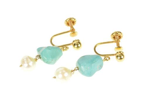 14K Turquoise Pearl Drop Dangle Screw Back Yellow Gold Earrings