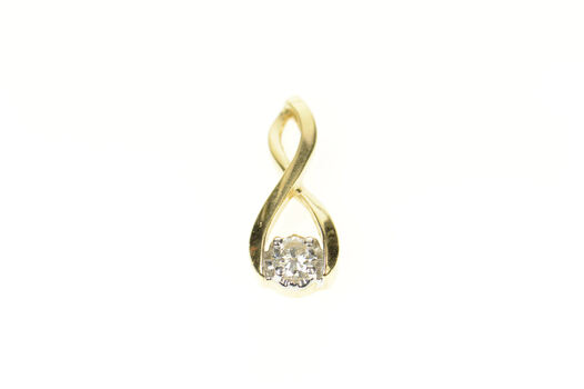14K Twist Design Diamond Solitaire Statement Yellow Gold Pendant