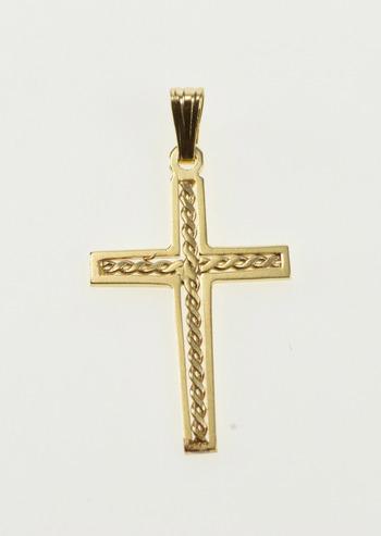 14K Twist Pattern Cross Christian Faith Symbol Yellow Gold Pendant