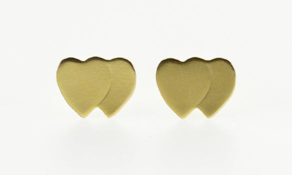 14K Two Overlapping Heart Pressed Post Back Stud Yellow Gold EarRings