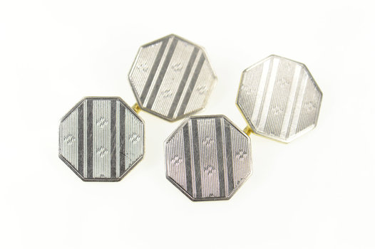 14K Two Tone Art Deco Pinstriped Octagon Men's White Gold Cuff Links
