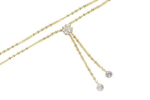 "14K Two Tone Ball Chain Shamrock CZ Fringe Yellow Gold Necklace 16.75"""