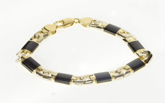 """14K Two Tone Black Onyx Men's HEAVY Fashion Yellow Gold Bracelet 8.75"""""""