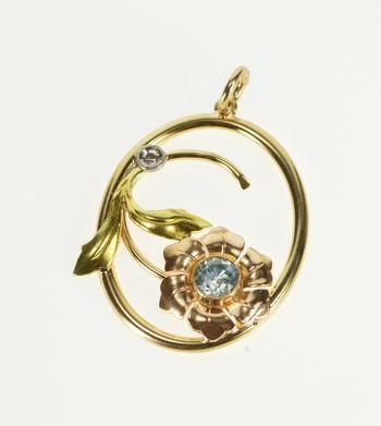 14K Two Tone Blue Topaz Diamond Flower Oval Yellow Gold Pendant