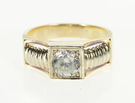 14K Two Tone Cubic Zirconia Ornate Men's Fashion Yellow Gold Ring, Size 12.75