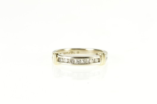 14K Two Tone Diamond Channel Inset Wedding Band Yellow Gold Ring, Size 6