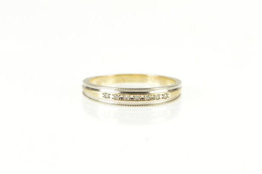 14K Two Tone Diamond Channel Inset Wedding Band Yellow Gold Ring, Size 7.75