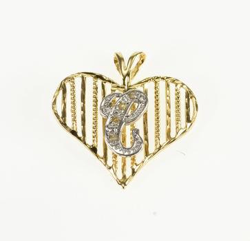 14K Two Tone Diamond Inset C Cursive Initial Heart Yellow Gold Pendant