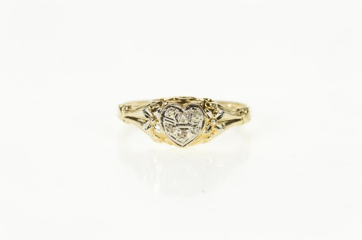 14K Two Tone Diamond Inset Heart Promise Yellow Gold Ring, Size 6.25