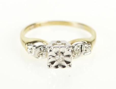 14K Two Tone Diamond Retro Promise Engagement Yellow Gold Ring, Size 5.5