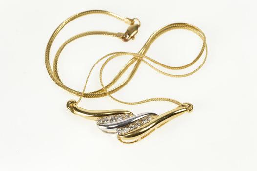 "14K Two Tone Diamond Wavy Channel Herringbone Yellow Gold Necklace 17"""