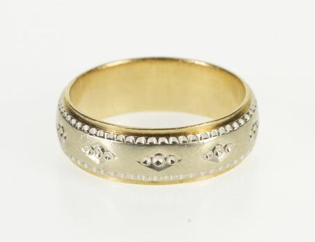 14K Two Tone Dot Pattern Men's Wedding Band White Gold Ring, Size 10.75