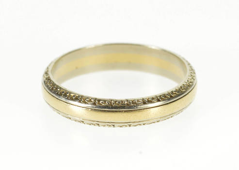 14K Two Tone Floral Patterned Men's Wedding Band Yellow Gold Ring, Size 10.75