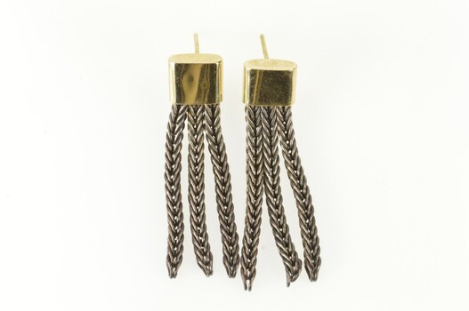 14K Two Tone Foxtail Chain Fringe Dangle Statement Yellow Gold Earrings