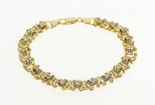 """14K Two Tone Geometric Fashion Chain Link Yellow Gold Bracelet 8"""""""