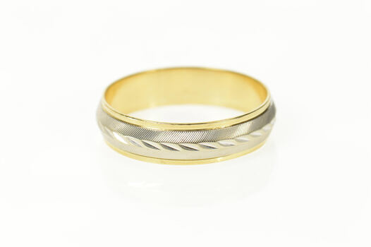 14K Two Tone Grooved 6.6mm Men's Wedding Yellow Gold Ring, Size 15.75