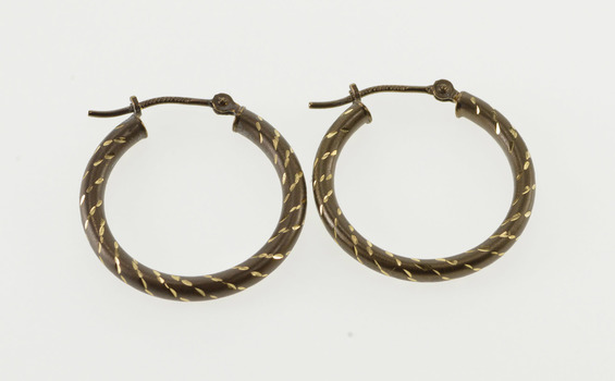 14K Two Tone Grooved Spiral Pattern Hollow Hoop Yellow Gold Earrings