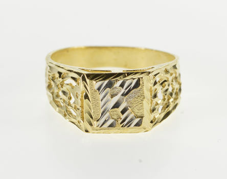 14K Two Tone K Letter Initial Monogram Textured Yellow Gold Ring, Size 6.25