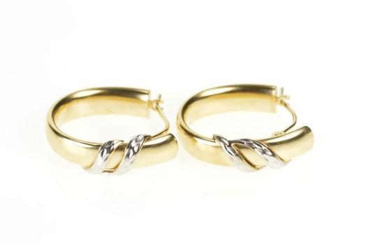14K Two Tone Oval Twist Overlay Puffy Hoop Yellow Gold Earrings
