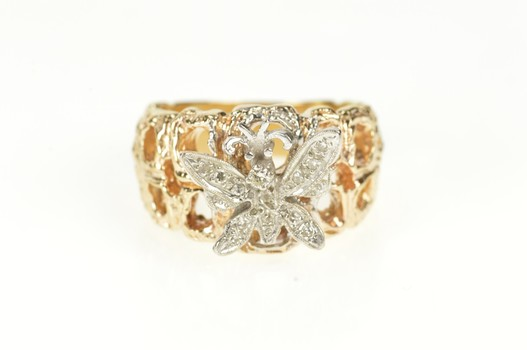 14K Two Tone Pave Butterfly Textured Nugget Band Yellow Gold Ring, Size 7.25