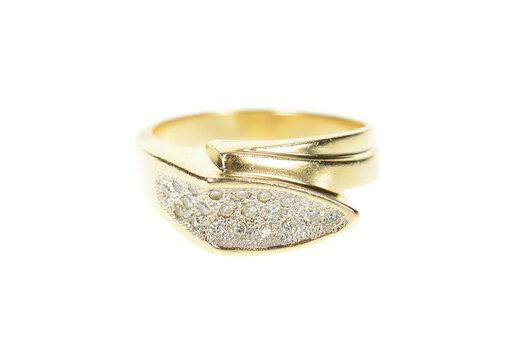 14K Two Tone Pave Diamond Geometric Men's Yellow Gold Ring, Size 12.25
