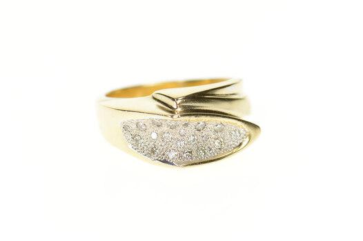 14K Two Tone Pave Diamond Geometric Statement Yellow Gold Ring, Size 8