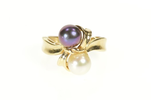 14K Two Tone Pearl Inset Fancy Bypass Yellow Gold Ring, Size 6