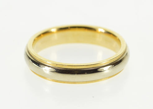14K Two Tone Rounded Classic Wedding Band Yellow Gold Ring, Size 6.25