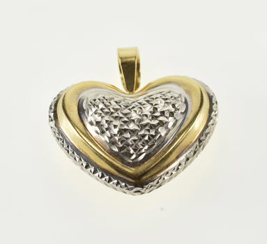 14K Two Tone Textured Rounded Puffy Heart Yellow Gold Pendant