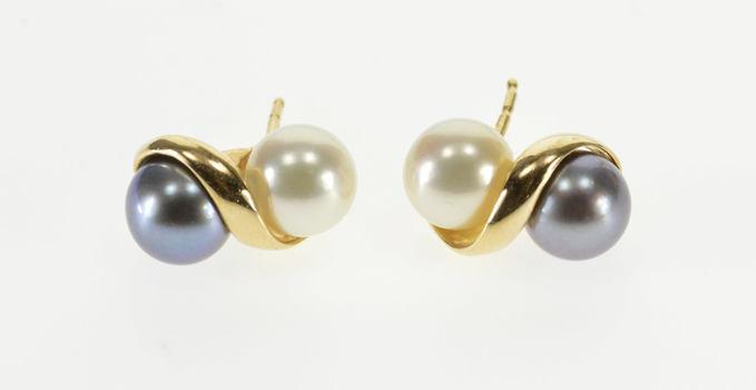14K Two Tone WHite Tahitian Pearl Inset Wavy Stud Yellow Gold EarRings