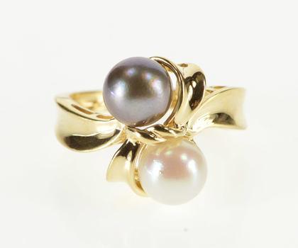 14K Two Tone White Tahitian Pearl Wavy Freeform Yellow Gold Ring, Size 6