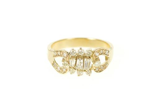 14K Unique Baguette Diamond Cluster Engagement Yellow Gold Ring, Size 7.25