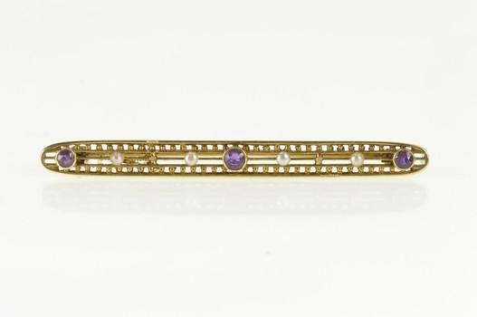 14K Victorian Amethyst Seed Pearl Ornate Bar Yellow Gold Pin/Brooch