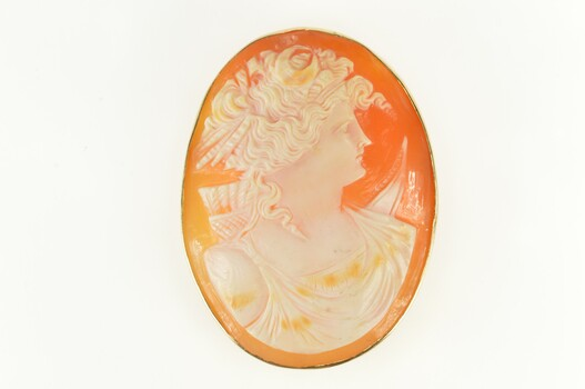 14K Victorian Carved Artemis Goddess Archer Cameo Yellow Gold Pendant/Pin