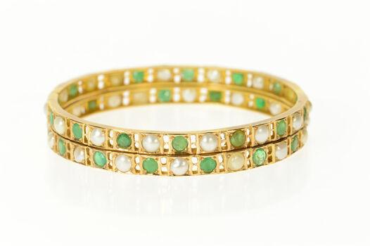 "14K Victorian Emerald Classic Statement Bangle Yellow Gold Bracelet 7.75"""
