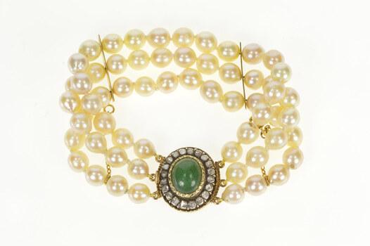 "14K Victorian Jade Diamond Halo Pearl Layered Yellow Gold Bracelet 6.25"""