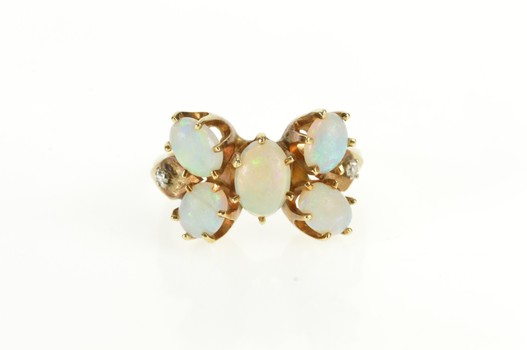 14K Victorian Natural Opal Butterfly Diamond Yellow Gold Ring, Size 7.5