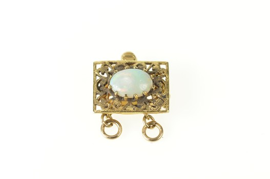 14K Victorian Natural Opal Filigree Square Clasp Yellow Gold