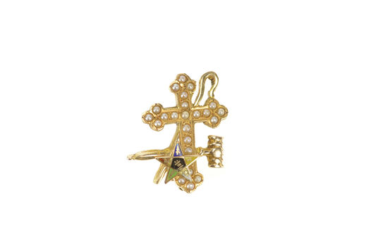 14K Victorian Order of the Eastern Star Cross Gavel Yellow Gold Pin/Brooch