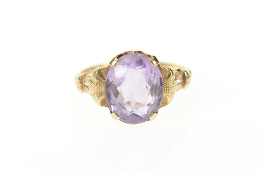 14K Victorian Ornate Amethyst Solitaire Statement Yellow Gold Ring, Size 6