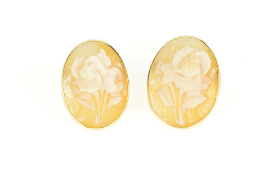 14K Victorian Ornate Carved Rose Cameo Yellow Gold Earrings