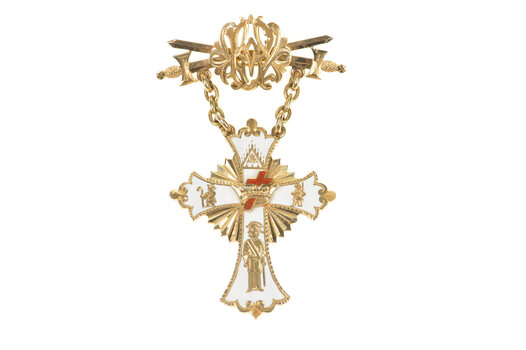 14K Victorian Ornate Enamel Masonic Heraldic Cross Yellow Gold Pin/Brooch