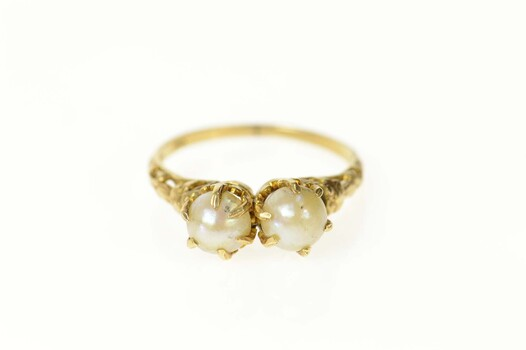 14K Victorian Ornate Pearl Filigree Statement Yellow Gold Ring, Size 6.75