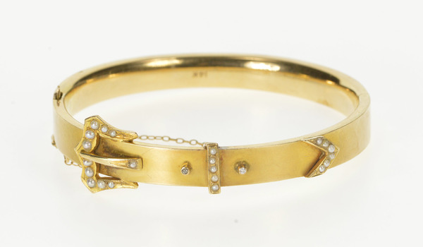 "14K Victorian Ornate Seed Pearl Belt Buckle Bangle Yellow Gold Bracelet 6.5"""