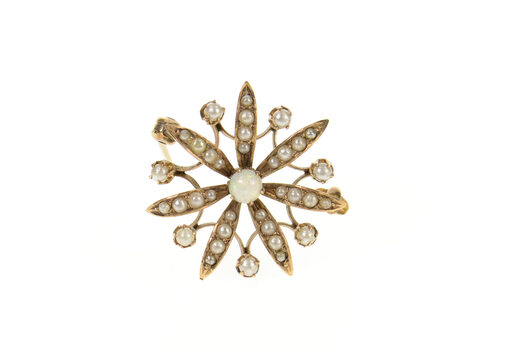 14K Victorian Ornate Seed Pearl Opal Flower Yellow Gold Pin/Brooch