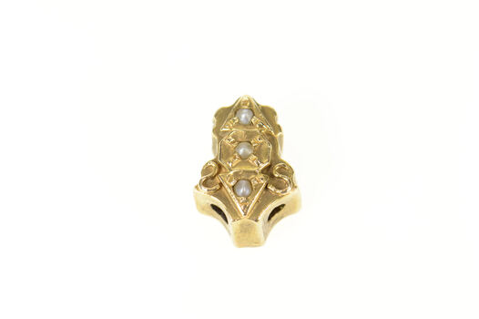 14K Victorian Ornate Seed Pearl Slide Yellow Gold Charm/Pendant