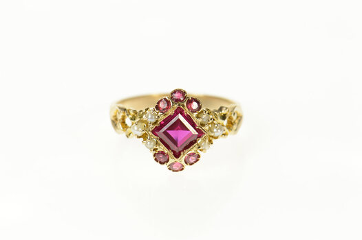 14K Victorian Ornate Syn. Ruby Seed Pearl Yellow Gold Ring, Size 6.25