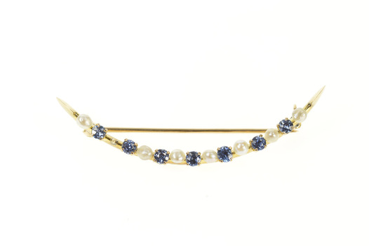 14K Victorian Pearl Iolite Crescent Moon Statement Yellow Gold Pin/Brooch