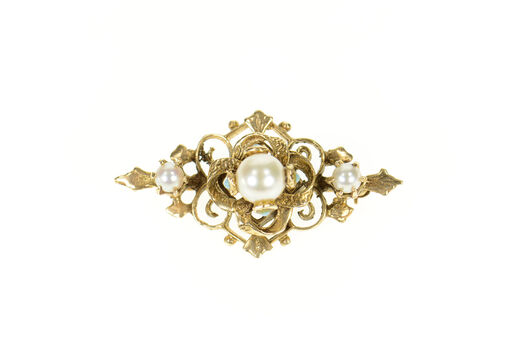 14K Victorian Pearl Turquoise Ornate Scroll Yellow Gold Pin/Brooch